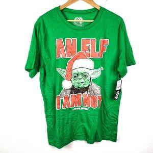 NWT Star Wars | Green Elf Yoda Holiday Tee Shirt